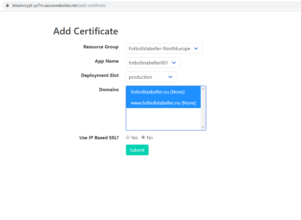 Acmebot lägg till certifikat